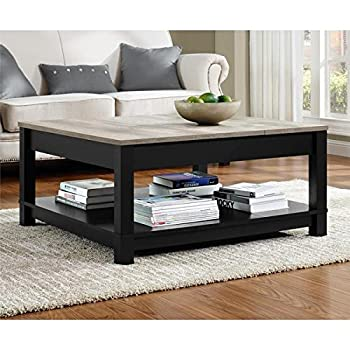 Modern Sturdy Decorative Chic Style Contemporary Rustic Transitional Square Matte Black Wood Coffee Table