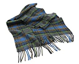 Blue & Green Plaid Scarf Lambswool 10\