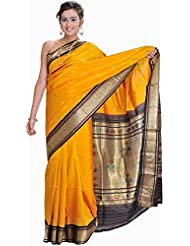 Exotic India Mineral-Yellow Paithani Sari With Hand Woven Peacocks On A - Yellow