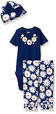 Gerber Baby Girls' Three-Piece Bodysuit, Cap, and Legging Set