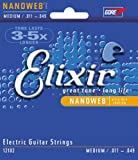 Elixir Strings Electric Guitar Strings, 6-String, Medium NANOWEB Coating
