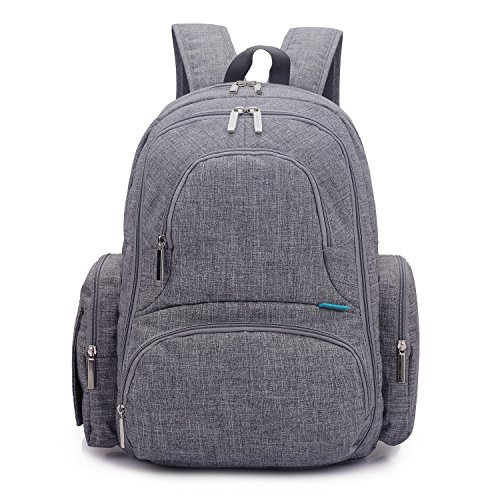 CoolBell Baby Diaper Backpack With Insulated Pockets, Grey,