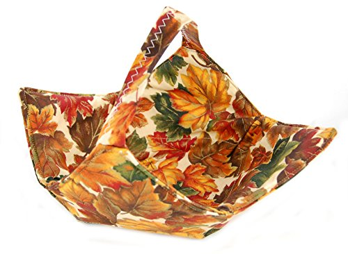 Fabric Microwave Bowl With Handle - Handmade In The Usa - Leaves