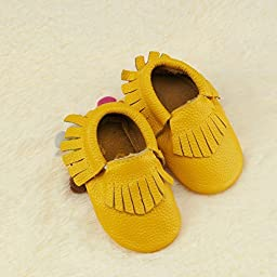 Baby Soft Leather Tassel Infant Boy Girl Sole Shoes Toddler Moccasin 11cm-15cm (12cm, yellow)