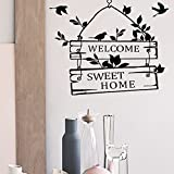 JB JJ011 Wall Stickers Black Text Words for Home Cafe Shop Decoration ... (welcom sweet home)