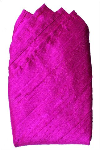 "Fuchsia Dupioni Silk Handkerchief - Full-Sized 16""x16"""