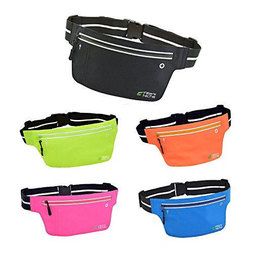 Fitters-Niche-UltraSlim-Fitness-Sports-Running-Belt-Fanny-Waist-Packs-Water-Resistant-Reflective-Adjustable-Band-Fit-phones-up-to-6-inches