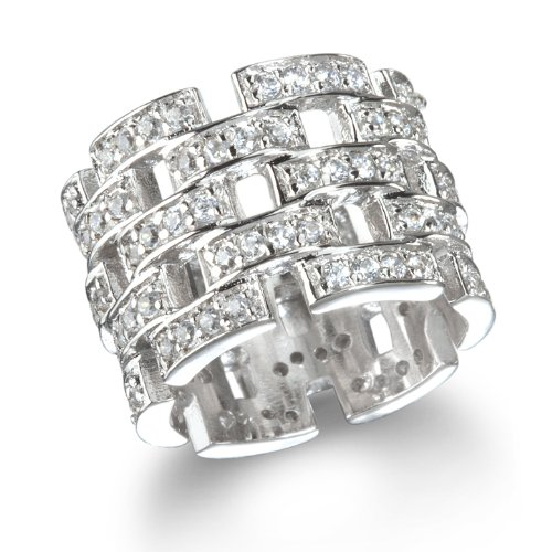 White CZ Wide Eternity Band