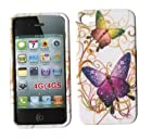 Purple Butterfly Apple Iphone 4, 4S at&t. Verizon, Sprint, C Spire Case Cover Hard Phone Case Snap-on Cover Rubberized Touch Faceplates