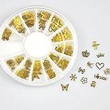 350buy 12*10pcs Nail Art Gold Metal Slice Stickers Design Decoration Wheel for Nail Art