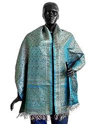 DollsofIndia Cyan Pure Silk Banarasi Brocade Stole with Silver Zari Meenakari Design  Silk  Blue
