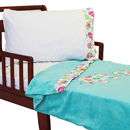 4pc RoomCraft Elephant Parade Toddler Bedding Set Embroidered Applique Jungle Animal Family Blanket and Sheet Set - 1