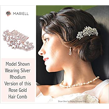Mariell Rose Gold Vintage Pearl and Mixed Crystal Sunburst Wedding, Bridal, Prom Comb - Retro Glam