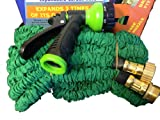 BunnyK Expandable Garden Water Hose Green New Brass Fittings 50 Ft - Free Nozzle