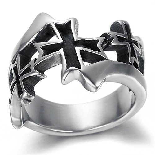 Stainless Steel Ring for Men, Cross Ring Gothic Black Band Silver Band 43*10MM Size 10 Epinki