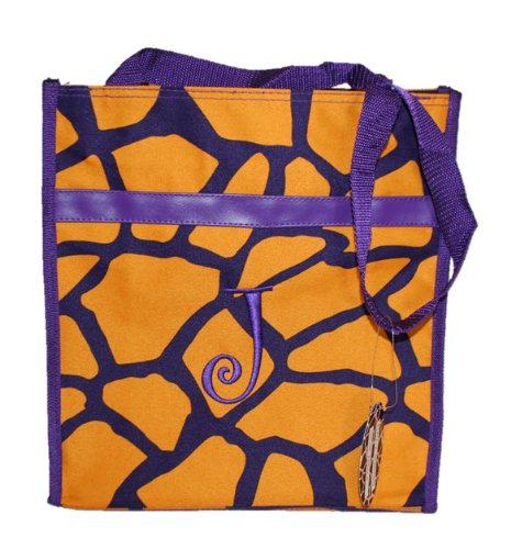 Monogrammed Gold and Purple Zippered Tote Bag (J) - 1