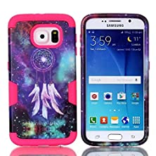 buy S6 Case, Firefish Compact Design Top Grade Pc With Soft Tpu Case [Exquisite Craftsmanship] Durable Material Extreme Lightweight For Galaxy S6 - Red Dream Catcher