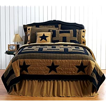 Good  pc DELAWARE Queen Quilt Set Black u Tan Western Star Primitive Country Lodge Bedding Bundle