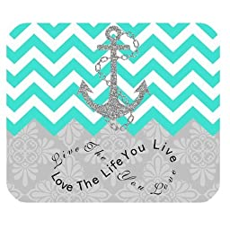 Live the Life You Love, Love the Life You Live Gray Anchor Turquoise Chevron & European Retro Pattern Unique Computer Mouse Pad