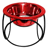 Platinum Pets 1-Cup Olympic Single Diner Stand with Wide Rimmed Bowl, Red