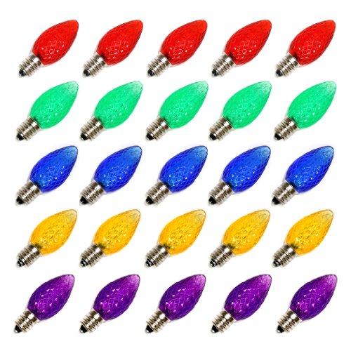 Vickerman 00718 - C7 Candelabra Screw Base Multi-Color Led (25 Pack) Christmas Light Bulbs (Xledc70)