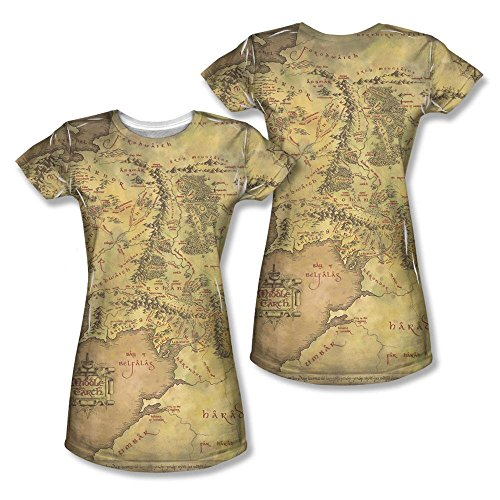 Warner Bros. Women's Lord of the Rings Middle-earth Map Juniors Sublimation Print T-Shirt X-Large (Map Ring compare prices)