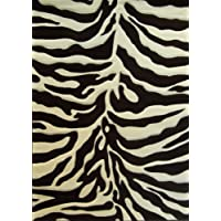 Sculpted Modern Zebra Print Rug # S245 Chocolate Brown