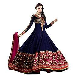 Parabdhani Fashion Women's Georgette Semi Stitched Suit (PBF_DM_45_Blue_Free Size)