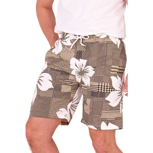 Mens Beige & White Hibiscus Flower Print Swimshorts With Full Net Lining And 2 Side Pockets - Medium