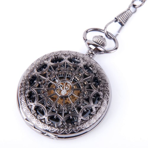 Skeleton Pocket Watch Chain Mechanical Hand Wind Half Hunter Antique Look Value Quality - PW18