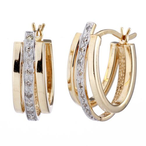 Diamond Hoop Earrings In Sterling Silver With 14K Yellow Gold Plating 1/2 Inch