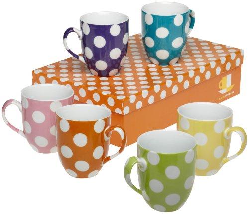 Yedi Houseware Classic Coffee and Tea White Dots Mugs, Set of 6 Home ...
