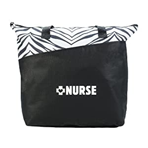 """Nurse"" Zebra Print Tote Bag"