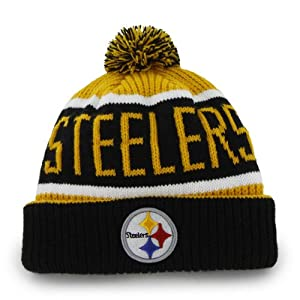 Pittsburgh Steelers Calgary Beanie Hat with Pom - NFL YL Cuffed Winter Knit Toque Cap by