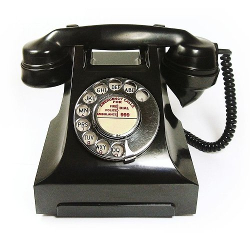 GPO 332 - Vintage Black Bakelite Dial Telephone with Traditional Bell Ring image