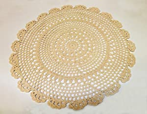 Handmade Medallion Crochet Lace Cotton Traycloths Doilies 14 Inch Round Beige