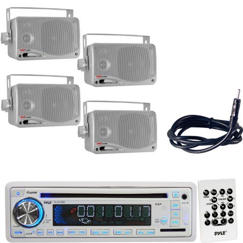 Pyle Marine Radio Receiver, Speaker and Cable Package - PLCD35MR AM/FM-MPX IN-Dash Marine CD/MP3 Player/USB & SD Card Function - 2x PLMR24S 2 Pairs of 3.5'' 200 Watt 3-Way Weather Proof Mini Box Speaker System (Silver Color) - PLMRNT1 22