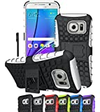 Galaxy S7 Edge Case, OEAGO Samsung Galaxy S7 Edge Cover Accessories - Tough Rugged Dual Layer Protective Case with Kickstand for Samsung Galaxy S7 Edge - White