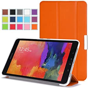 Moko Samsung Galaxy Tab PRO 8.4 Case - Ultra Slim Lightweight Smart-shell Stand Cover Case for Galaxy TabPRO 8.4 Android Tablet, ORANGE (With Smart Cover Auto Wake / Sleep. WILL NOT Fit Samsung Galaxy Tab 4 8.0)
