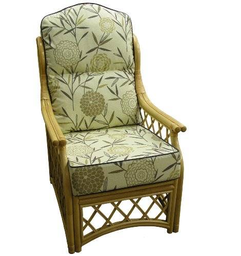 Hump Back Replacement CANE CHAIR CUSHION COVERS ONLY Conservatory Wicker Rattan Furniture by Gilda® (Harrogate Natural with Sage Piping)