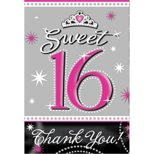 Amscan Sweet 16 Sparkle Invitations & Thank You Notes (20 Piece), Pink/Grey/Black - 1