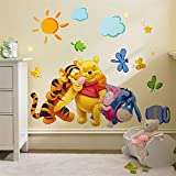 #9: Jaamso Royals ' Winnie the Pooh Wall Sticker Home Decor Cartoon' Wall Sticker (PVC Vinyl, 70 cm X 50 cm, Decorative Stickers)