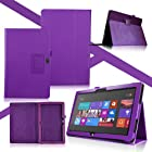 Synthetic Leather Stand Case For Microsoft Windows 8 Surface RT Tablet Purple