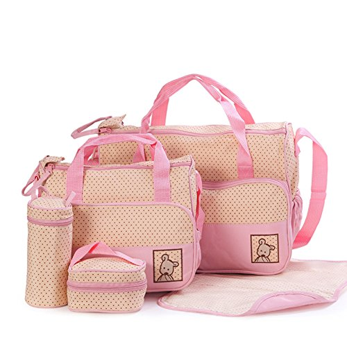 Moolecole 7 in 1 Mommy Tote Bag Travel Bag Diaper Bag Set (Pink)