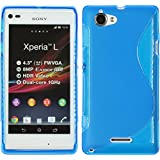 PhoneNatic Sony Xperia L Hülle Silikon blau S-Style Case Xperia L Tasche + Schutzfolien