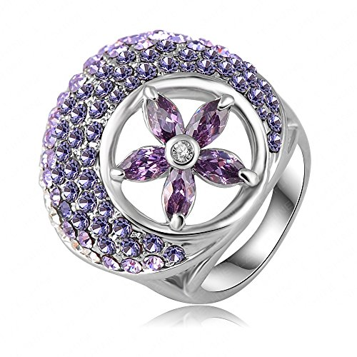 K-Design Nice Purple Crystal Flower Ring New Style Platinum Plate Austrian Crystal Female Ring Made With Genuine Swa Elements Ri-Hq0305 6.5