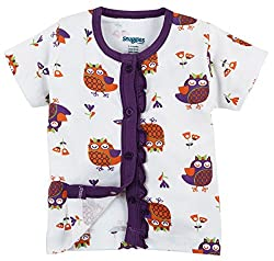 Snuggles Half Sleeve Front Open Jabla Owl Print - White (6-9M)