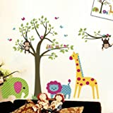 Discountfan Large Colorful Tree & Jungle Animals Wall Sticker Nursery Bedroom Wall Art Decor Cute Giraffe Monkey Owl Tree Art Wall Stickers Kids Room Removable Decal Baby Bedroom Wall Art