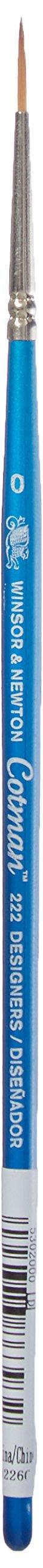 Winsor & Newton Cotman Water Colour Series 222 Short Handle Synthetic Brush - Designers' #0 (Color: Blue, Tamaño: #0)