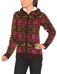 Protest Helium Cardigan Gilet style Jacquard femme Brown Earth FR : L/40 (Taille Fabricant : L/40)